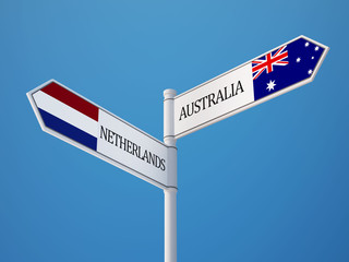Australia Netherlands  Sign Flags Concept