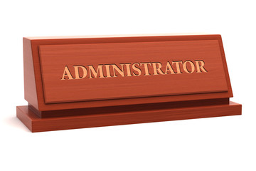 Administrator title on nameplate