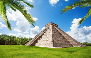 Chichen Itza monument in summer, Mexico