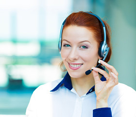 Customer service representative with hands free device