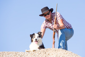 young farmer with dog