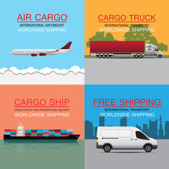 world wide cargo transport vector concept