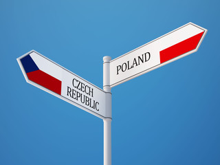 Poland Czech Republic  Sign Flags Concept