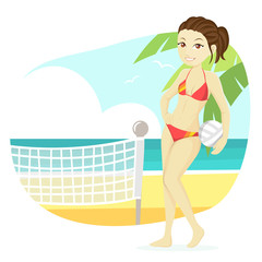 Cute Beach Girl Illustration