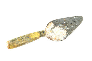 Old trowel on isolated white background