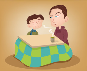 Two brother enjoying the kotatsu with hot green tea Illustration
