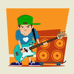 Punk rock boy bass player Illustration