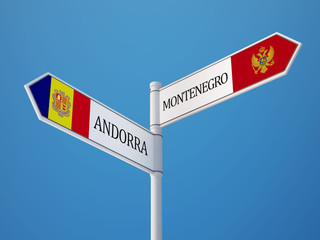 Andorra Montenegro.   Sign Flags Concept