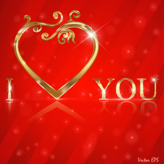 I Love You lettering stylish golden text - vector eps10