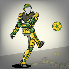 Brazilian Football Robot Illustration