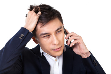 Asian businessman solving problems