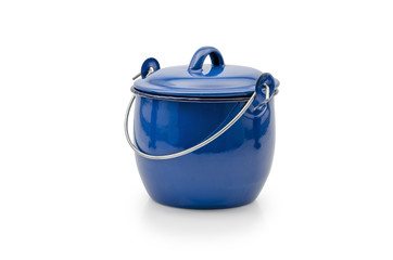 blue cooking pot isolated on white : Clipping path included