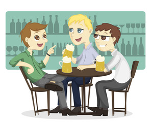 Three male employee enjoy drinking beer on a bar Illustration