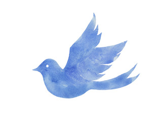 青い鳥の水彩イラスト