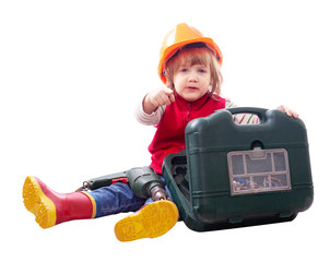 child in hardhat with drill and toolbox