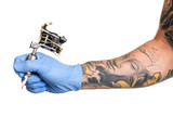 Tattoo artist at work isolated on white. Closeup