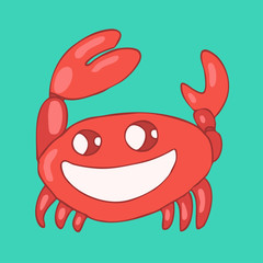 funny cartoon crab vector illustration, hand drawn