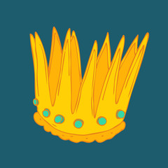 Golden crown vector illustration, hand drawn