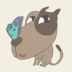cute puppy dog with butterfly on nose, pet, vector illustration