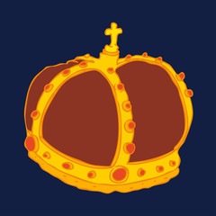 Royal Gold Crown vector illustration, hand drawn