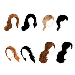 Set long hair  natural and silhouette Vector Illustration
