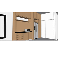 sketch design of interior kitchen ,vector