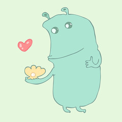 cute cartoon monster with pearl and love, vector illustration