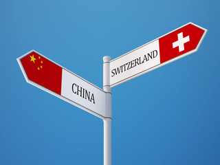 Switzerland China  Sign Flags Concept