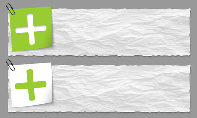 set of two banners with crumpled paper and plus symbol