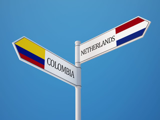 Colombia Netherlands  Sign Flags Concept