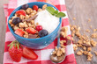 canvas print picture - muesli, yogurt and berry