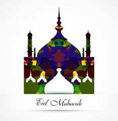 eid mubarak card grunge colorful mosque vector background illust
