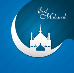 Arab mosque beautiful crescent moon shape as blue colorful eid m