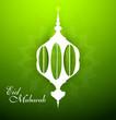 Eid mubarak celebration beautiful arabic lamp green colorful vec