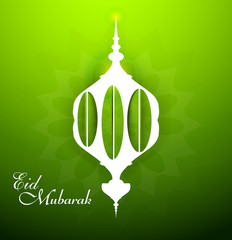 Eid mubarak celebration beautiful arabic lamp green colorful vec