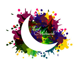 Eid mubarak card moon concept for grungy colorful and white back