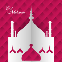 Eid Mubarak mosque festival for beautiful colorful card backgrou
