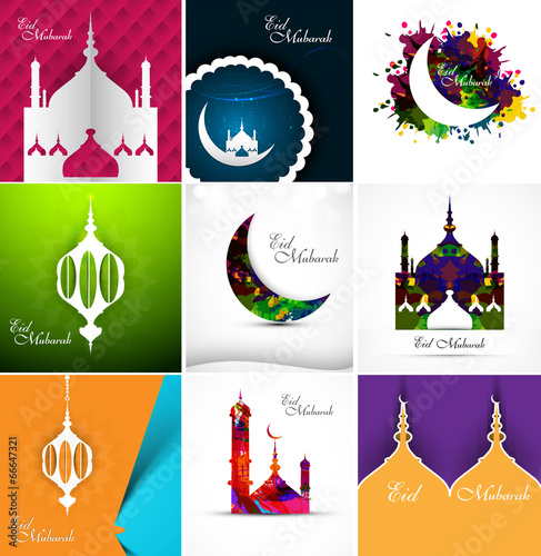 Mosque with colorful eid mubarak collection card set beautiful b