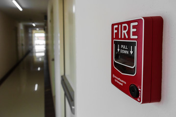 Fire Alarm near door fire exit door .