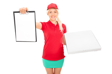 Pizza delivery girl holding a clipboard
