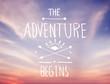 Leinwandbild Motiv Bright Pink Sky with Adventure Quote