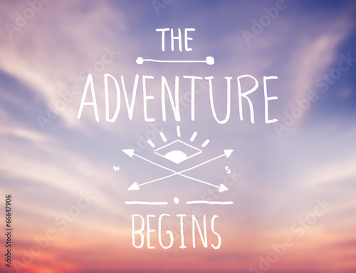 Foto op Canvas Zonsondergang Bright Pink Sky with Adventure Quote
