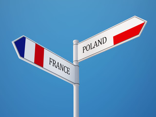 Poland France  Sign Flags Concept