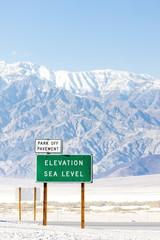 Elevation sea level sign, Death Valley National Park, California