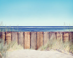 Beach and Wooden Fence