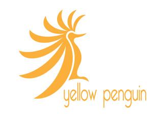 Bird Sitting abstract vector logo design template. Yellow pengui