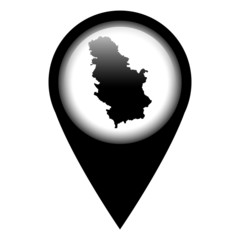 Vector pin with the map in - Serbia