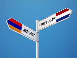 Armenia Netherlands  Sign Flags Concept
