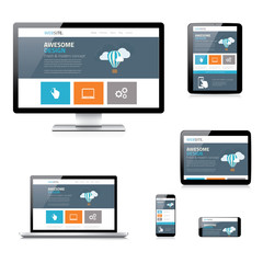 Modern flat responsive web design vector illustration isolated