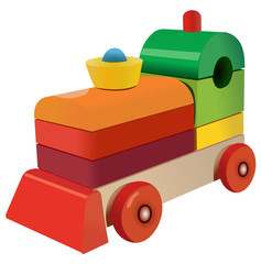 Vector format of wooden cubes colored locomotive toy